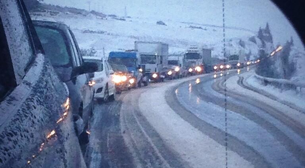 Traffic chaos on the Glenshane Pass on Friday with long tailbacks. Pic Patricia MacBride