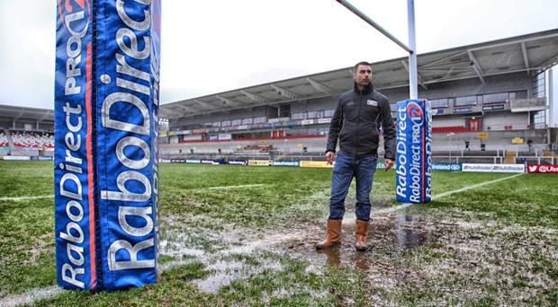 A severely water-logged Ravenhill this afternoon. Pic Darren Kidd /Presseye