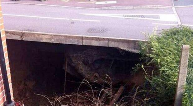 Police say sinkhole is 20ft deep and 35ft wide