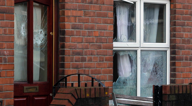 Windows were smashed during an early morning attack in Deacon Street. Pic Aiden O'Reilly/Pacemaker