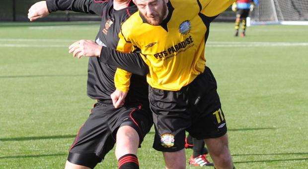 Action from Lower Shankill v Donaghadee in the Amateur League Division C