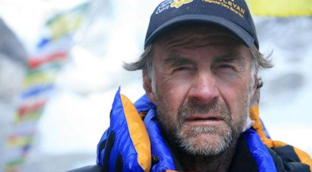 Sir Ranulph Fiennes at the summit of Everest in 2008 on his third attempt at conquering the Himalayan giant.