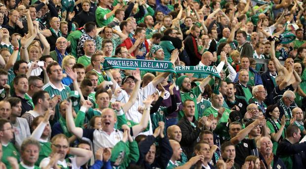 Windsor Park is set to host its first Sunday game. Fans pictured during Northern Ireland's World Cup qualifier against Russia. Pic David Maginnis