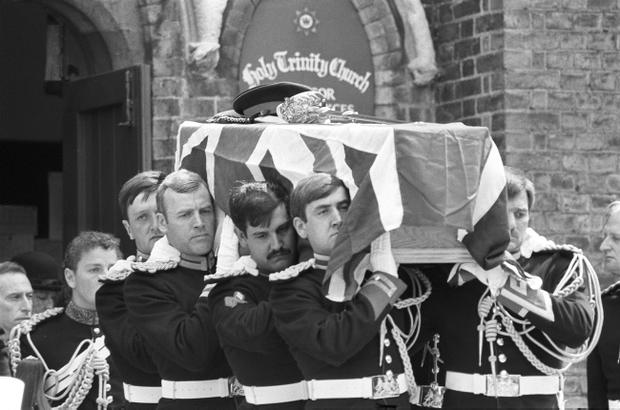 The flag-draped coffin carrying Lt Anthony Daly, the Blues and Royals officer killed in the Hyde Park bombing in 1982.