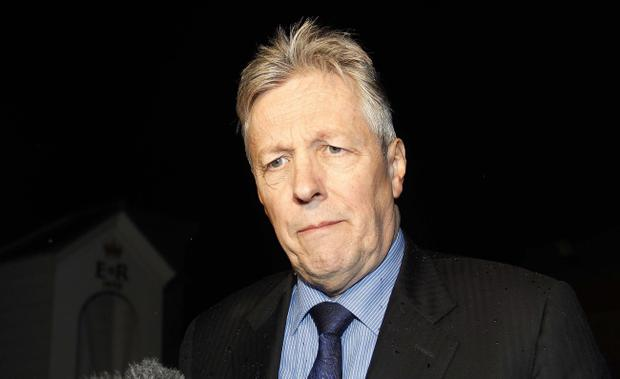 Peter Robinson at Hillsborough Castle for a crunch meeting with Secretary of State Theresa Villiers. Pic Aiden O'Reilly