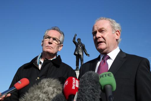 Sinn Fein's Martin McGuinness and Gerry Kelly pictured at Stormont this morning