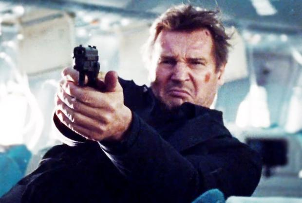Liam Neeson in the action thriller Non-Stop. The film also stars Julianne Moore, Michelle Dockery, Linus Roache and Scoot McNairy