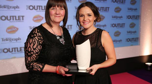 Belfast Telegraph Mum of the Year winner: Catherine McFerran (left) at the Belfast Telegraph Woman of the Year Awards in Association with THE OUTLET, Banbridge at the Ramada Hotel in Belfast
