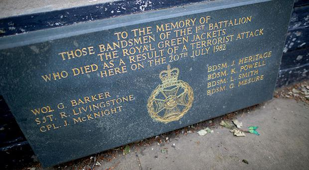 A memorial stone marks the spot at Regent's Park bandstand where seven bandsmen were killed on May 22, 2013 in London