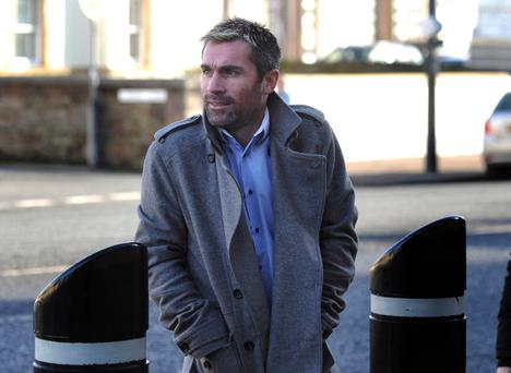 Former Manchester United footballer Keith Gillespie arrives at Newtownards court this morning