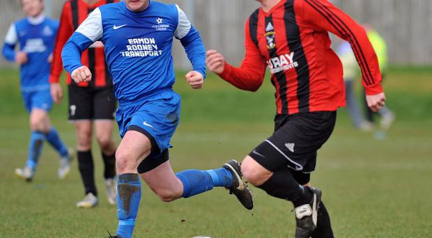 Action from Harryville Homers v Silverwood United, March 1