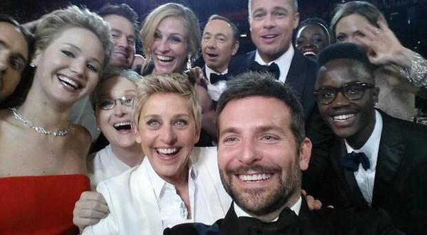 The year the selfie landed in Hollywood: Kevin Spacey, Angelina Jolie, Julia Roberts, Brad Pitt, Jennifer Lawrence, Ellen Degeneres and Jared Leto join Twitter-busting selfie