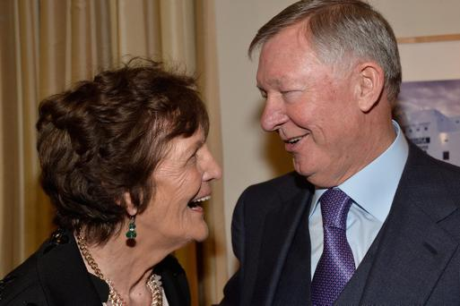 LOS ANGELES, CA - FEBRUARY 28: Philomena Lee (L) and Sir Alex Ferguson attend the 2014 GREAT British Oscar Reception at British Consul Generals Residence on February 28, 2014 in Los Angeles, California. (Photo by Frazer Harrison/Getty Images for British Consulate General Los Angeles)