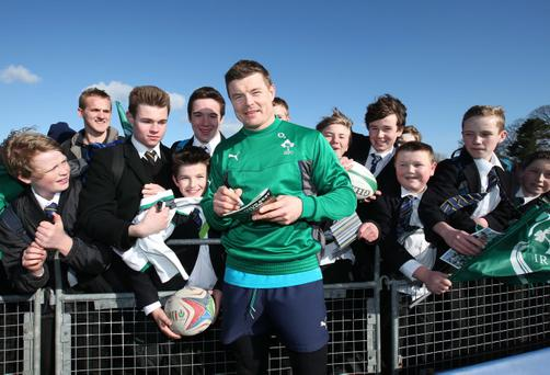 Brian O'Driscoll poses for a picture with fans in Belfast last week