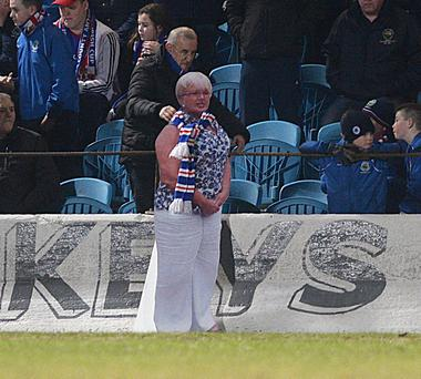 Pictured at the match a cardboard cut out of DUP's Ruth Patterson