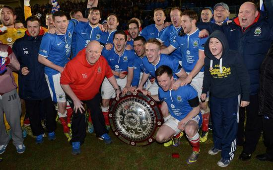 Linfield celebrate after winning the County Antrim Shield Pic.Stephen Hamilton /Presseye