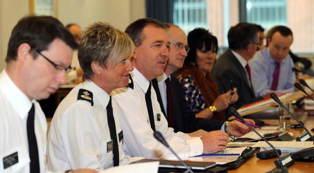 Chief Constable Matt Baggott pictured at today's Policing Board meeting