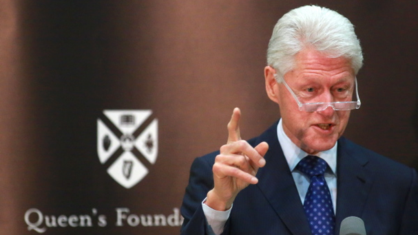 Former US President Bill Clinton at Riddel Hall, Queens University. Pic Paul McErlane