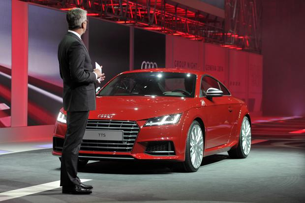 Volkswagen Head of Development Ulrich Hackenberg presents the new Audi Audi TTS at the 84th International Motor Show in Geneva, Switzerland. Photo by Harold Cunningham/Getty Images