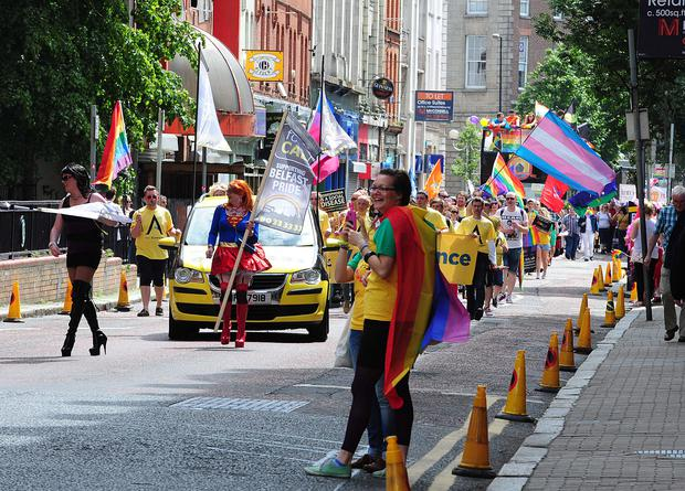 A FonaCab flag in support of the Belfast Pride march 2013