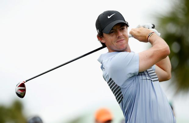 Rory McIlroy hits a shot during the first round of the World Golf Championships-Cadillac Championship