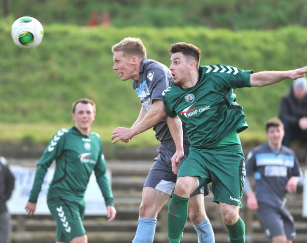 Action from the Championship match between Dundela and Lisburn Distillery at Wilgar park Belfast