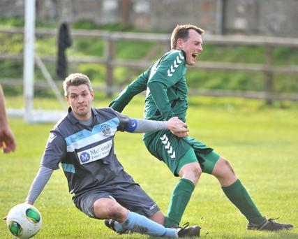 Action from the Belfast Telegraph Championship match between Dundela and Lisburn Distillery at Wilgar park Belfast