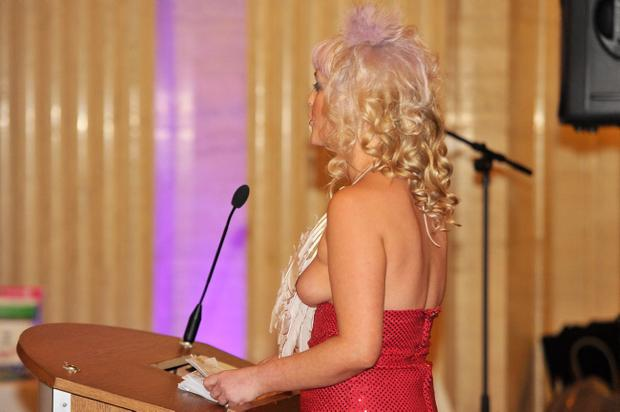 A scantily clad Cara Park speaking in Parliament Buildings at Stormont on International Women's Day at the weekend. Pic Justin Kernoghan