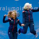 Kelly Gallagher from Bangor (R) and guide Charlotte Evans celebrate during the medal ceremony