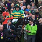 CHELTENHAM, ENGLAND - MARCH 11: Barry Geraghty on Jezki celebrates victory in The Stan James Champion Hurdle Challenge Trophy during The Festival Champion Day at Cheltenham Racecourse on March 11, 2014 in Cheltenham, England. (Photo by Richard Heathcote/Getty Images)