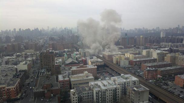 An image posted at around 9am, New York time, reportedly showing an explosion Pic Twitter