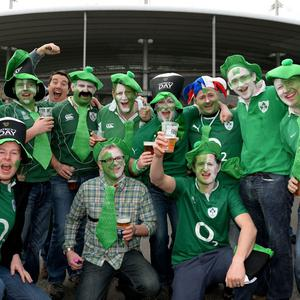 Ireland fans show their support outside of the stadium before the Six Nations match at the Stade de France, Paris, France