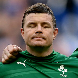 Ireland's Brian O'Driscoll during the National Anthems before the Six Nations match at the Stade de France, Paris, France.