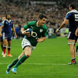 Ireland's Jonathan Sexton runs in to score his second and his side's third try during the Six Nations match at the Stade de France, Paris, France