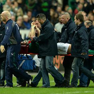 Ireland's Jonathan Sexton is stretchered off during the Six Nations match at the Stade de France, Paris, France.