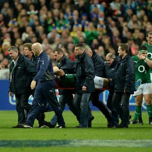 Ireland's Jonathan Sexton carried off during the Six Nations match at the Stade de France, Paris, France.
