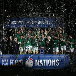Brian O'Driscoll (C) of Ireland celebrates with his team-mates as they lift the trophy after winning the six nations championship with a 22-20 victory over France during the RBS Six Nations match between France and Ireland at Stade de France on March 15, 2014 in Paris, France. (Photo by Paul Gilham/Getty Images)