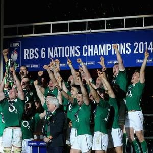 Captain, Paul O'Connell of Ireland and team mates celebrate with the Six Nations Championship trophy during the RBS Six Nations match between France and Ireland at Stade de France on March 15, 2014 in Paris, France. (Photo by Julian Finney/Getty Images)