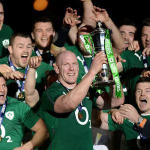Ireland's Paul O'Connell lifts the 6 Nations trophy after the Six Nations match at the Stade de France, Paris, France