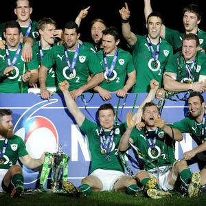 Ireland celebrate winning the Six Nations at the Stade de France, Paris, France