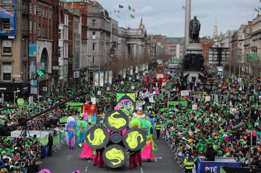 Flashback to 2014: The Dublin St Patrick's day parade, one of the largest in the world, makes its way down O'Connell Street towards St Patrick's Cathedral. PicNiall Carson/PA Wire