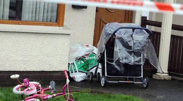 A young family escaped injury following a pipe bomb attack on their home in Tobermore. Pic Colm Lenaghan
