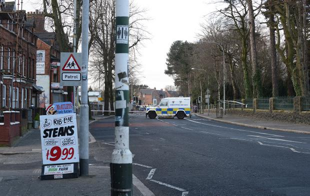 The scene on the Falls Road in west Belfast after a mortar attack on police earlier this month. Pic Arthur Allison