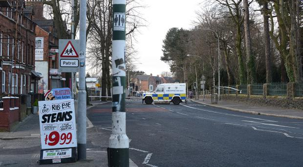 The scene on the Falls Road in west Belfast after a mortar attack on police. Pic Arthur Allison