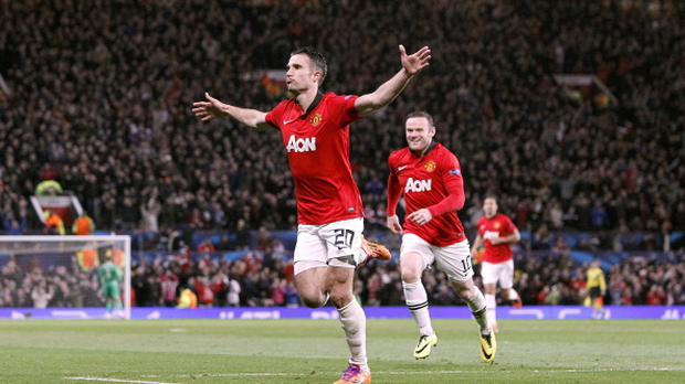 Manchester United's Robin van Persie celebrates scoring his hat-trick