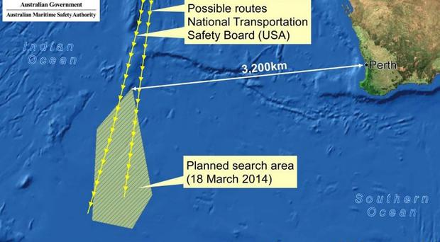 A map of the Australian Maritime Safety Authority's (AMSA) search area for missing Malaysia Airlines flight MH370. Objects possibly related to the search for the missing plane have been spotted in the southern Indian Ocean.