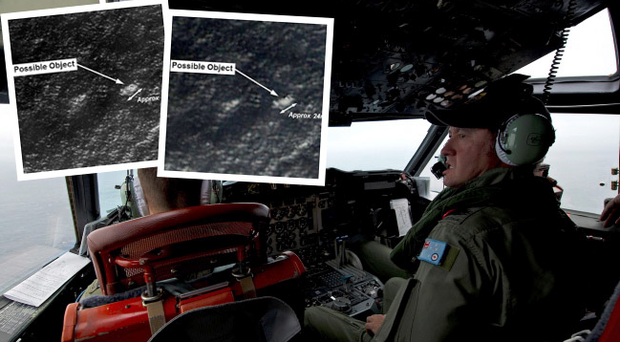 Australian search and rescue team and the two satellite images of 'debris' spotted