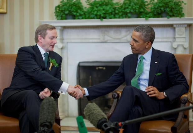 US President Barack Obama shakes hands with Taoiseach Enda Kenny in Washington last week