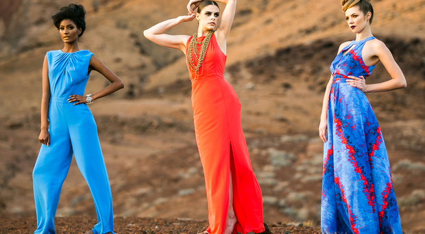 Rachel – Printed maxi dress £80 warehouse & cobalt box clutch bag £45 Warehouse Nerissa – Orange maxi dress £60 Warehouse & necklace, stylist's own Helen – Cobalt jumpsuit £80 Warehouse & perspex cuff £35 Coast Lanzarote Sunday Life Cover Girl shoot. Pictures Mark McCormick 03/14