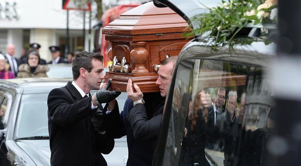 The funeral of Lord Ballyedmond, a Northern Ireland peer killed in a helicopter crash in England. Pic Arthur Allison